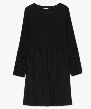 Robe de soirée femme en matière crêpe plissée avec manches longues vue4 - GEMO(FEMME PAP) - GEMO