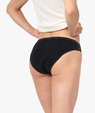 Culotte menstruelle en coton stretch et plumetis pour flux moyen - Dim Protect vue2 - DIM - GEMO