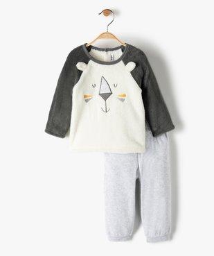 Pyjama bébé en maille peluche extra douce motif lion vue1 - GEMO(BB COUCHE) - GEMO
