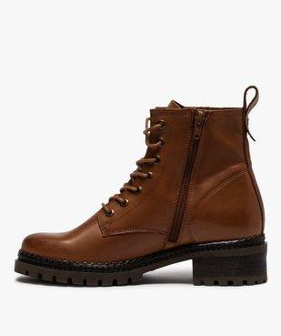 Boots femme dessus cuir uni à lacets et semelle crantée vue3 - GEMO (CASUAL) - GEMO