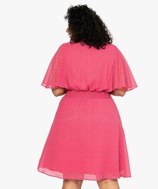 Robe femme en voile à taille smockée et motif fleuri vue3 - GEMO (G TAILLE) - GEMO