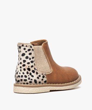 Bottines bébé fille à zip et élastique motif léopard vue4 - GEMO(BEBE DEBT) - GEMO