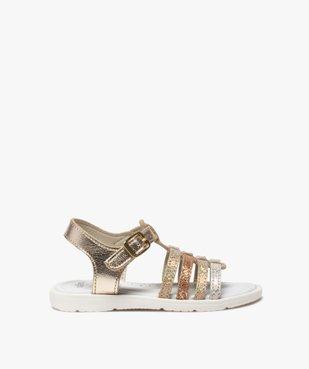 Sandales fille à brides multiples métallisées vue1 - GEMO (ENFANT) - GEMO