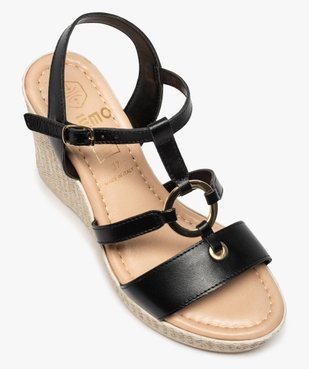 Sandales femme à talon compensé et anneau métallique vue5 - GEMO(URBAIN) - GEMO