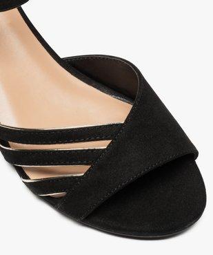 Sandales femme en suédine à petit talon carré vue6 - GEMO(URBAIN) - GEMO