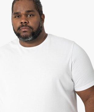 Tee-shirt homme à manches courtes à rayures texturées vue2 - GEMO (G TAILLE) - GEMO