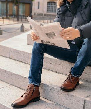 Boots homme zippés dessus cuir uni fermeture lacets vue6 - GEMO (CASUAL) - GEMO