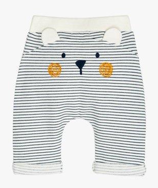 Pantalon bébé confortable en maille rayée avec motif ours au dos vue2 - GEMO(BB COUCHE) - GEMO