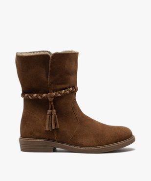 Boots fille unies en cuir fermeture zippée et doublure douce vue1 - Nikesneakers (ENFANT) - Nikesneakers