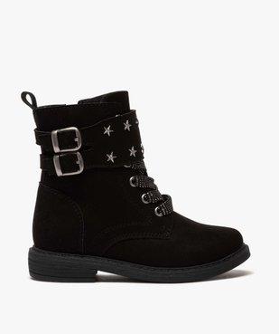 Boots fille zippés en suédine unie avec étoiles métallisées vue2 - GEMO (ENFANT) - GEMO