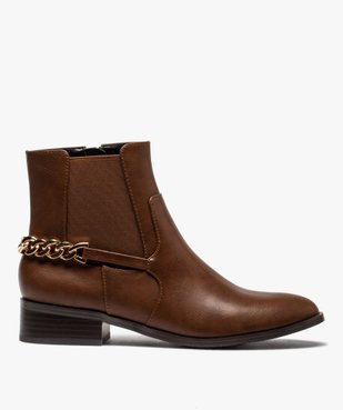 Boots femme unies à talon plat avec chaîne sur l'arrière vue1 - GEMO (CASUAL) - GEMO