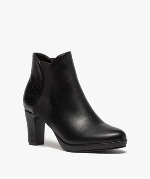 Boots femme à talon unies détails imitation serpent vue2 - GEMO(URBAIN) - GEMO
