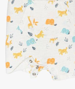Combishort bébé garçon à motifs animaux 100% coton biologique vue2 - GEMO C4G BEBE - GEMO
