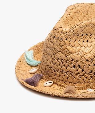 Chapeau femme en paille avec pompons et coquillages vue2 - GEMO (ACCESS) - GEMO