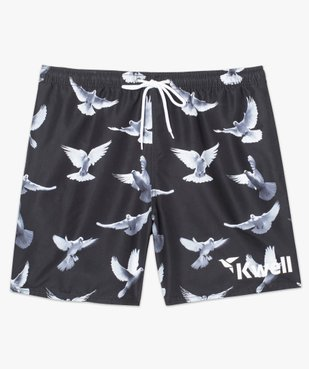 Short de bain noir imprimé oiseaux - Kwell vue4 - KWELL - GEMO