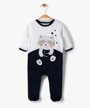 Pyjama bébé en velours avec motif petit loup  vue1 - GEMO(BB COUCHE) - GEMO