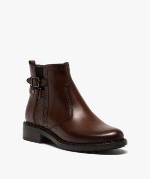 Boots femme unis à talon plat dessus cuir à bords ajourés vue2 - GEMO (CASUAL) - GEMO