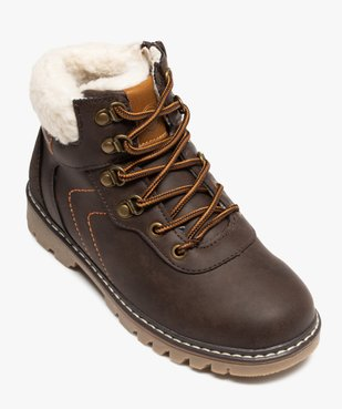 Boots garçon style chaussures de montagne à col sherpa vue5 - GEMO (ENFANT) - GEMO