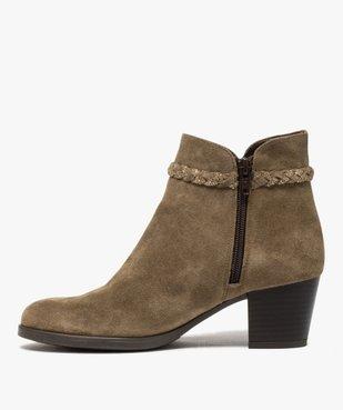 Boots femme unies à talon dessus cuir et bride fantaisie vue4 - GEMO(URBAIN) - GEMO