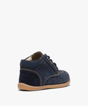 Chaussures premiers pas bébé garçon unies en cuir vue4 - GEMO(BEBE DEBT) - GEMO