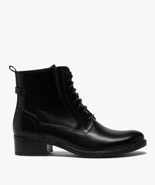 Boots femme à talon plat style derbies à lacets et zip vue1 - GEMO (CASUAL) - GEMO
