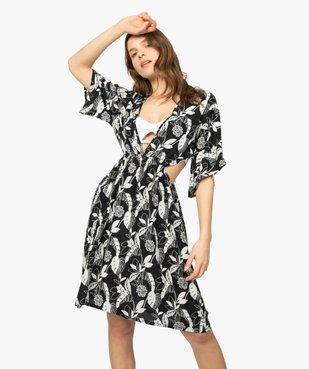 Robe de plage femme à motifs fleuris et fentes à la taille vue1 - GEMO (PLAGE) - GEMO