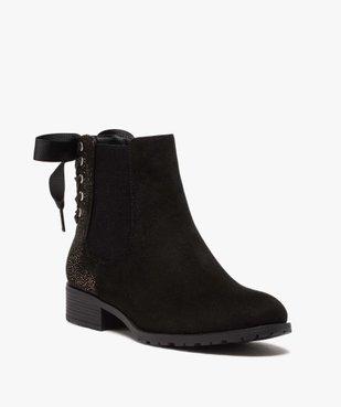 Boots femme chelsea zippées avec ruban sur le contrefort vue2 - GEMO (CASUAL) - GEMO