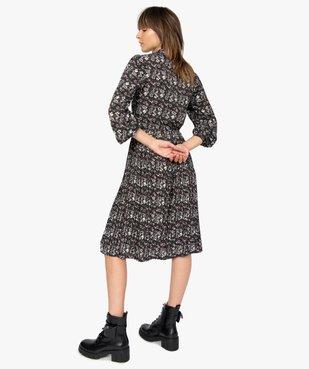 Robe femme midi imprimée à manches longues et col chemise  vue3 - GEMO(FEMME PAP) - GEMO
