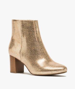 Boots femme à talon carré dessus métallisé vue2 - Nikesneakers(URBAIN) - Nikesneakers