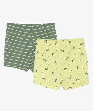 Short bébé garçon en jersey à taille élastiquée (lot de 2) rayures / crocodiles vue2 - GEMO(BEBE DEBT) - GEMO