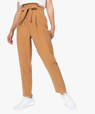 Pantalon femme coupe carotte taille haute vue1 - GEMO(FEMME PAP) - GEMO
