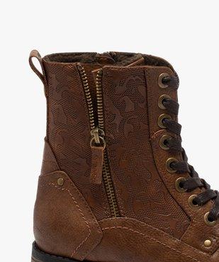 Boots femme zippées à talon plat et tige fantaisie vue6 - GEMO (CASUAL) - GEMO