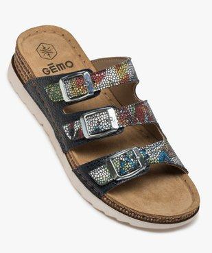 Sandales confort femme mules à talon compensé colorées vue5 - GEMO (CONFORT) - GEMO