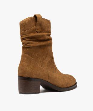 Boots femme à talon carré dessus en suédine unie vue4 - GEMO(URBAIN) - GEMO
