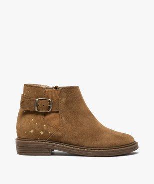 Boots fille style chelsea dessus cuir retourné motif étoiles vue1 - GEMO (ENFANT) - GEMO