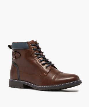 Boots homme à lacets contrastés et col rembourré vue2 - GEMO (CASUAL) - GEMO