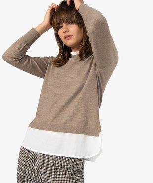 Pull femme effet 2 en 1 avec col chemise froncé vue5 - GEMO(FEMME PAP) - GEMO