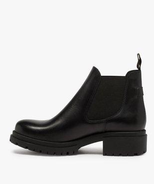 Boots femme style chelsea unis à talon carré et semelle crantée  vue3 - GEMO (CASUAL) - GEMO