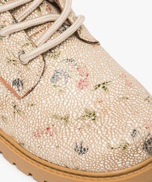 Boots femme à lacets col rembourré et semelle crantée Dessus imprimé fleuri vue6 - GEMO (CASUAL) - GEMO