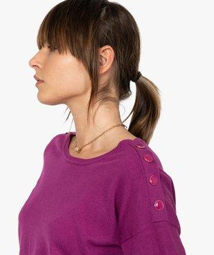 Pull femme  en maille fine avec boutons sur les épaules vue2 - GEMO(FEMME PAP) - GEMO
