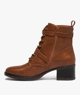 Boots femme unies à talon avec lacets et brides vue3 - GEMO(URBAIN) - GEMO