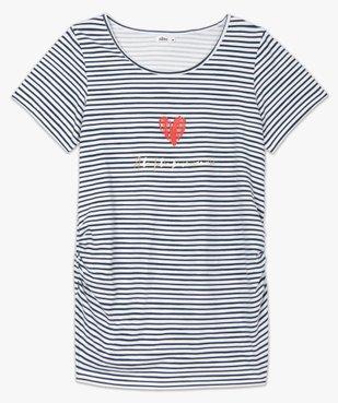 Tee-shirt de grossesse rayé à manches courtes vue4 - GEMO C4G MATERN - GEMO