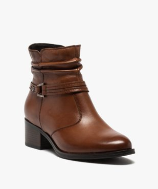 Boots femme à talon large et tige plissée en cuir vue2 - GEMO (CASUAL) - GEMO
