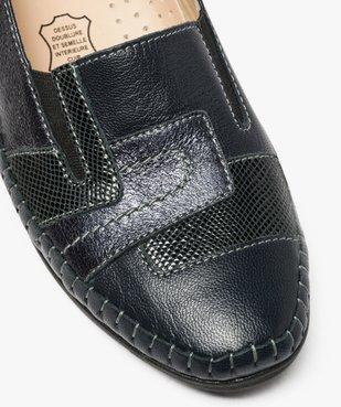 Mocassins confort femme en cuir à talon compensé vue6 - GEMO (CONFORT) - GEMO