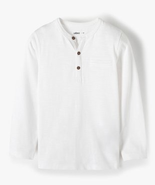 Tee-shirt garçon à manches longues et col tunisien vue1 - GEMO C4G GARCON - GEMO