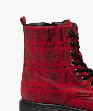 Boots femme rangers à semelle crantée lacets contrastés Dessus à carreaux vue6 - GEMO (CASUAL) - GEMO
