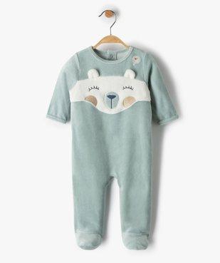 Pyjama bébé fille en velours avec motif nounours vue1 - Nikesneakers(BB COUCHE) - Nikesneakers