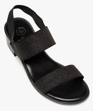 Sandales femme à talon carré et larges brides élastiquées vue5 - GEMO(URBAIN) - GEMO