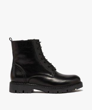 Boots fille en cuir uni style godillots à semelle crantée vue1 - GEMO (ENFANT) - GEMO