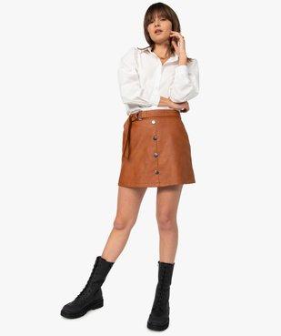Jupe femme en synthétique imitation cuir avec ceinture vue5 - GEMO(FEMME PAP) - GEMO